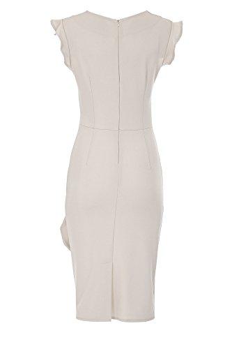 da97c49d0847 ... Laeticia Dreams Elegantes Damen Kleid Volant Etuikleid Wadenlang S M L  XL Beige zw48Z ...
