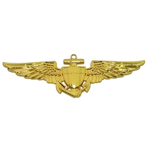 Naval Aviator / Navy Marine Pilot Metal Auto Emblem Decal (Naval Aviator Wings)