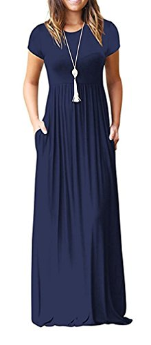HAOMEILI Women's Short Sleeve Loose Plain Long Maxi Casual Dresses with Pockets XS Navy Blue -