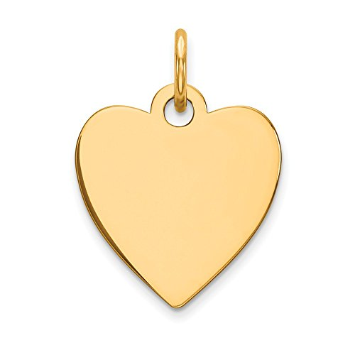 Solid 14k Yellow Gold Plain .009 Gauge Engravable Heart Disc Pendant Charm (14mm x 18mm)