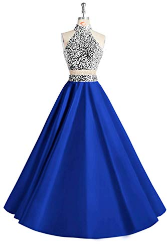MEILISAY Women's Beaded 2 Pieces Prom Dresses Long Halter Satin Formal Evening Gowns with Pockets M005 Royal Blue US10