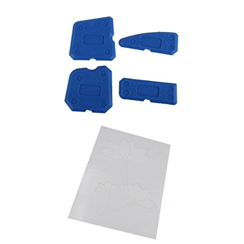 MagiDeal 4Pieces Silicone Caulking Tool Kit Corner Joint Sealant Grout Remover Scraper + Grain Template Stencil Paint Painting Effects DIY Wall Decor Tool by MagiDeal