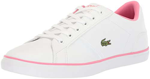 Lacoste Unisex Lerond Sneaker, White/Pink Leather, 3.5 M US Big Kid (Pop Lacoste Classic)