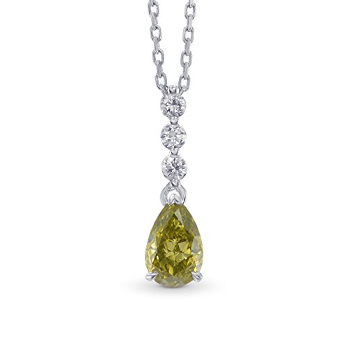 0.71Cts Chameleon Diamond Drop Pendant Necklace Set in 18K White Yellow Gold GIA (Diamond Drop 18k White Gold Necklace)