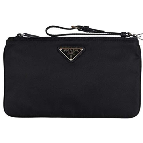 (Prada Black Tessuto Nylon Pouch Case Clutch w Silver Prada Logo 1NH545)