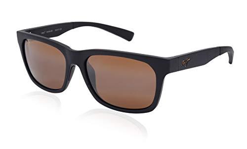 Maui Jim Boardwalk H539-2M | Polarized Matte Black Rectangular Frame Sunglasses, HCL Bronze Lenses with Patented PolarizedPlus2 Lens Technology