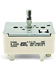 EvertechPRO Range Surface Unit Switch Replacement for Whirlpool 3149400 2786 310180 311846 311858