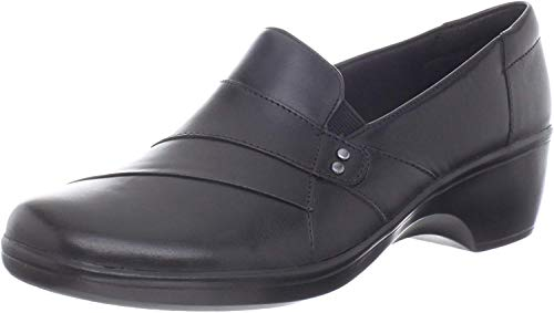 CLARKS Women's May Marigold Slip-On Loafer, Black Leather, 12 M US (Womens Size 12 Clarks Shoes)