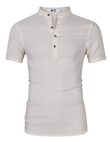 Kuulee MrWonder Men's Casual Slim Fit Henley Neck Short Sleeve Daily Look Linen Shirts Beige 2XL