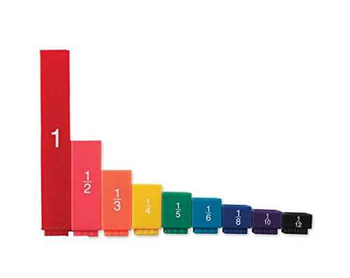 hand2mind Plastic Rainbow Fraction Tower Linking Cubes with Fractions and Decimals (Set of 51)