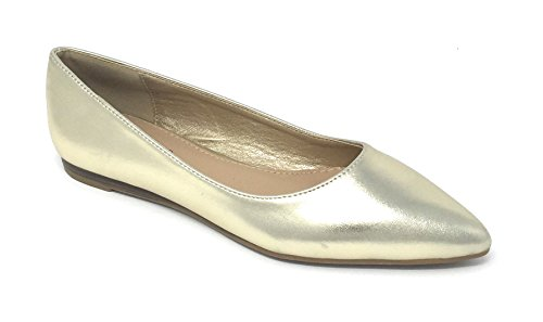 Pierre Dumas Women s Abby-10 Vegan Leather Pointed Toe Slip-On Fashion  Dress Flats 9d9e4568b8