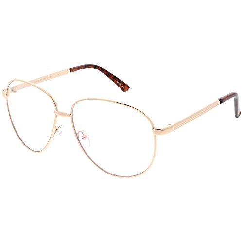 sunglassLA - Oversize Classic Metal Aviator Eye Glasses With Clear Teardrop Lens 62mm (Gold / - Glasses Asos