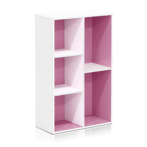 jnwd 5 Cube Bookcase Organizer Wood Pink Open Vertically Horizontally Decorative Bookshelf Cubeicals Modern Display Ferniture Rack for Living Room Home Office Bedroom College Dorms & e-Book (Ferniture)