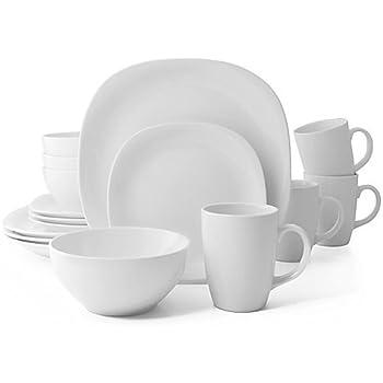 Amazon.com | Thomson Pottery 16−pc Masion White Dinnerware Set ...