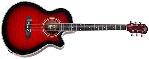 Oscar Schmidt 6 String OG10CE Cutaway Acoustic-Electric Guitar. Flame Trans Red, Transparent (OG10CEFTR-A)