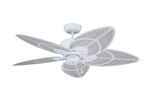 Emerson Ceiling Fans CF621SW Batalie Breeze 52-Inch Indoor Outdoor Ceiling Fan, Wet Rated, Light Kit Adaptable, Satin White Finish ()