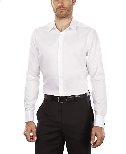 Calvin Klein Men's Dress Shirt Non Iron Solid, White, 17.5