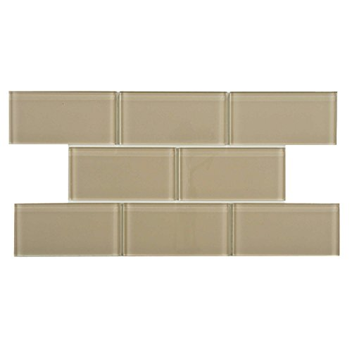 Cream Wall Tile (SomerTile GITT3SSD Sierra Subway Sandstone Glass Wall Tile, 3