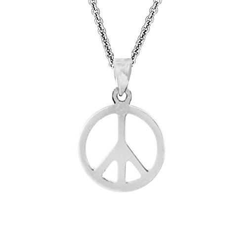 (Sterling Silver Shiny Peace Sign Charm Pendant Necklace 18 Inches)