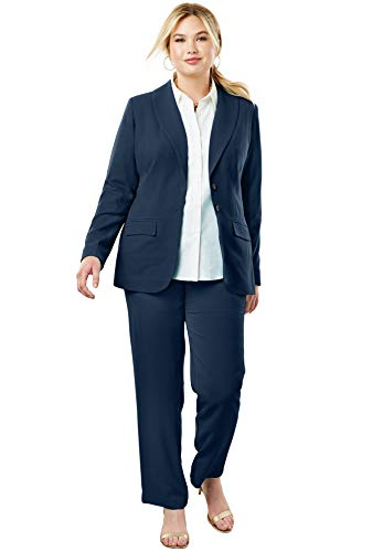 Jessica London Women's Plus Size Single Breasted Pant Suit - Navy, 20 ()