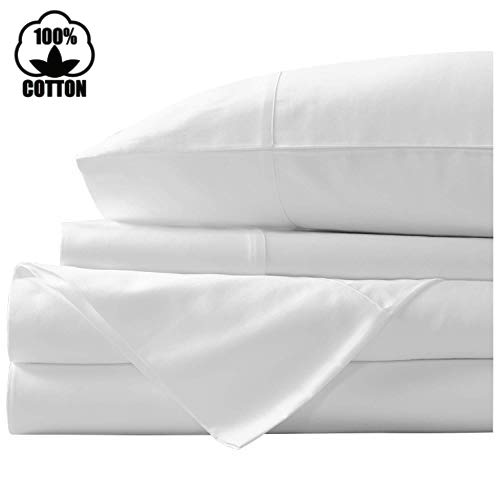 Nish & Joe 100% Cotton Bed Sheet, 400-Thread-Count Extra Long Staple, Luxurious Sateen Weave , 4-Pc Queen Sheet Set,Fits Mattress Upto 15''fit Deep Pockets, Fade & Stain Resistant - Queen, White