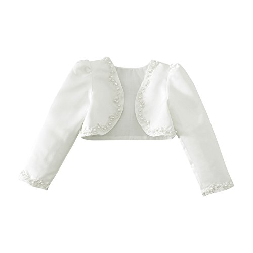 CHICTRY Flower Girls Kids Long Sleeve Beading Stain Bolero Shrug Princess Formal Dress Cover Up Ivory 5-6