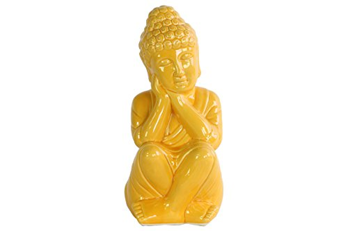 Buddha Ceramic Head Statue (Urban Trends Ceramic Sitting Buddha Figurine with Rounded Ushnisha and Head on Hands Gloss Finish Yellow, Yellow)
