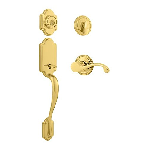 Kwikset 800AN/966CHL-USL03 Bright Brass (Lifetime Finish) Arlington Single Cylinder Handleset with Commonwealth Lever