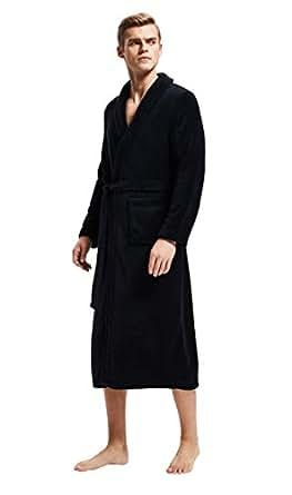 Amazon.com: Mens Fleece Bathrobe Long Shawl Collar Plush ...