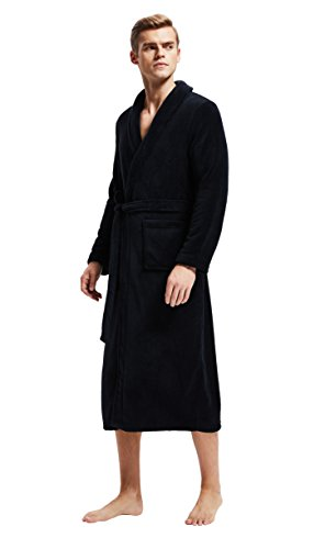 (Men's Fleece Bathrobe Long Shawl Collar Plush Robe (L, Black))