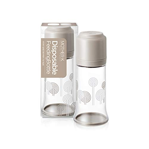 Mother-K Disposable Feeding Baby Bottles No Nipple for Travel, Safe and Transparent Tritan Material (Beige)