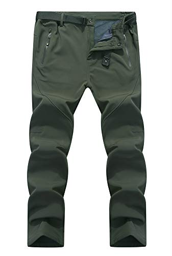 (YSENTO Men's Casual Windproof Quick Dry Lightweight Belted Trousers Climbing Pants with Zipper Pockets Army Green Size XL)