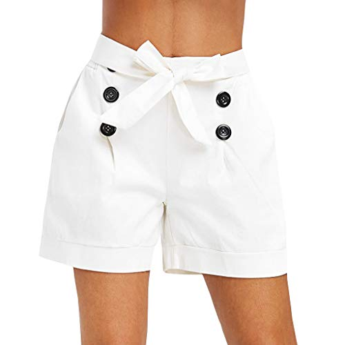 Duseedik Women High Waist Shorts Summer Straight Button Bow Embellished Pocket Wide Leg Pants White