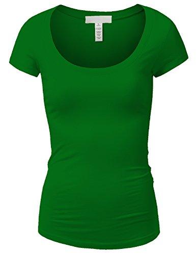 Active Basic Womens Plain Basic Deep Scoop Neck T-Shirt with Cap (Green Womens Cap Sleeve T-shirt)