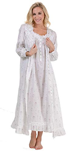 Eileen West Peignoir Set - Cotton Gown and Robe in Misty Rosebud (White/Gray Floral, Medium) -