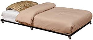 Black Trundle Bed Modern Contemporary Unisex Metal Pet Friendly