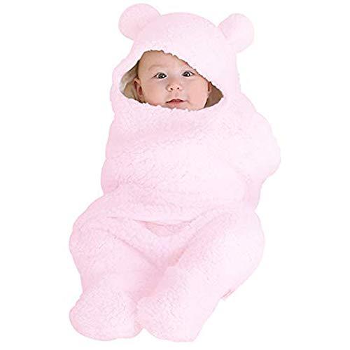 HappyMA Newborn Infant Baby Boys Girls Swaddle Blankets Pure Color Sleeping Bag, Bear Ear Receiving Blankets Outfits (Pink, 0-6 (Pink Bear Blanket)