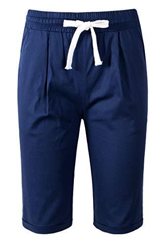 - Faatoop Women's Summer Bermuda Shorts Casual Loose Elastic-Waisted Drawstring Pants Cotton Linen Knee-Length Beach Shorts (Navy Blue, 3XL)