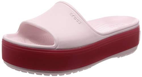 Crocs Crocband Platform Slide Sandal, Barely Pink/Pepper, 4 US Men/ 6 US Women M US