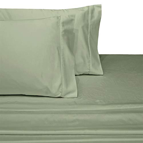 (Deluxe and Super Soft Brushed Microfiber Attached Waterbed Sheet Set with Pole Attachment, 3 Piece Super Single Size, Sage)