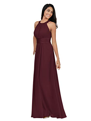 Alicepub Chiffon Bridesmaid Dresses Long for Women Formal Evening Party Prom Gown Halter, Burgundy, US12