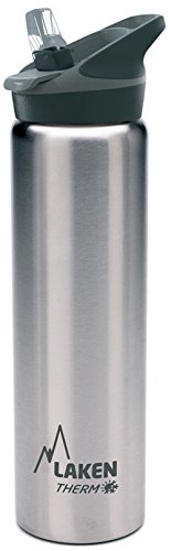Laken Thermo Kids Vacuum Insulated Stainless Steel Leak Free Sports Water Bottle with Jannu Straw Cap, 25 Oz, Plain/ Silver (Plain Child Cup)