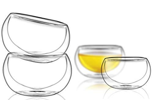 PunPun Tea cups Set of 4-Double Wall Borosilicate Glasses-Espresso Cups Set-Heatproof Insulating-Teacups glass-2.7oz-Demitasse Gift Box-Hand Made-Lead free For Sale