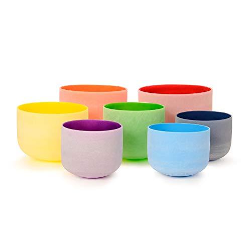 TOPFUND Singing Bowls 432Hz Chakra Tuned Set of 7 Color Crystal Singing Bowls 8-12 - Icy 12 Crystal