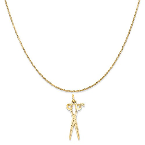 14k Yellow Gold Scissors Charm on a 14K Yellow Gold Rope Chain Necklace, 16