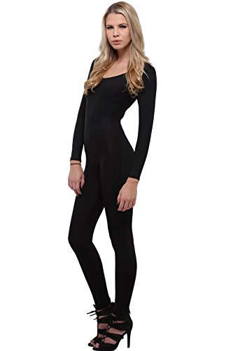 [World of Leggings Women's Premium Basic Full Nylon Spandex Jumpsuit - Black] (Black Spandex Suit)