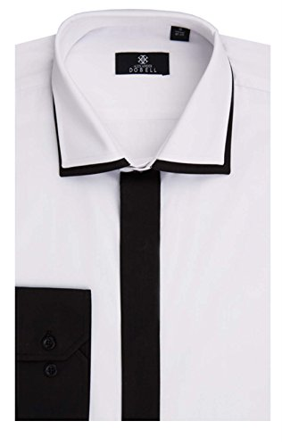 Alexander Dobell Smokinghemd, weiß, schwarz abgesetzte Knopfleiste und Doppelkragen-16