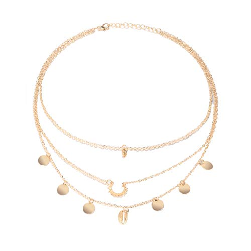 Multilayered Necklace,Haluoo Fashion Dainty Fish Bone Choker Necklace Delicate Hollow Sunflower Pendant Clavicle Necklace Chic Shell Pendant Disc Tassel Long Chain Necklace for Women (Gold)