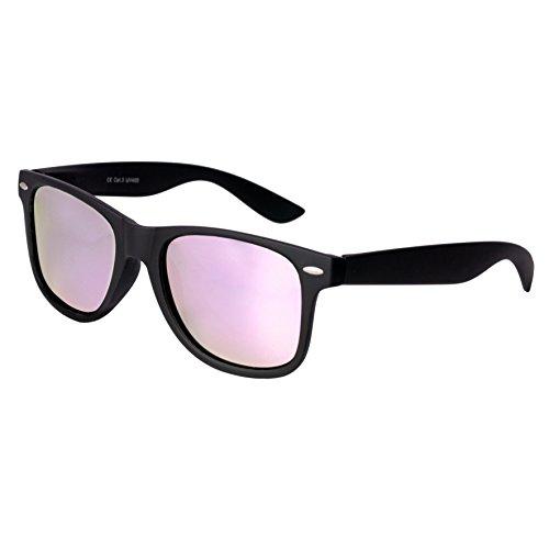 Nerd Sunglasses Matt Rubber Style Retro Vintage Unisex Glasses Spring Hinge Black - 24 Different Models (Black-Rosé, - Bans Ray Rose