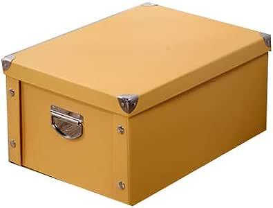 LHY SAVE Cajas De Cartón Caja De Almacenaje con Tapa Y Metal Asa,Fácil De Ensamblar, para Regalo, Almacenamiento En El Hogar, Oficina Y Mudanza,Amarillo,30x20x15cm: Amazon.es: Hogar
